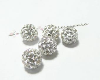 1 Pearl 10mm white silver quality shambala