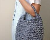 summer woven handbag, basket bag, short strap shoulder bag, medium sized handbag, eco rope bag, black and white bag, knitted market bag