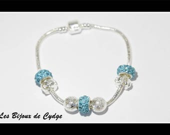 European plated silver bracelet with Pearl rhinestone turquoise 20cm