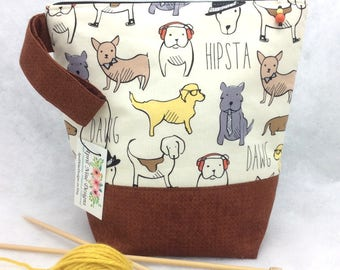 Knitting Project Bag, Knitting Tote,  Dog Project bag, Crochet Bag, WIP Project Bag, Sock Project Bag