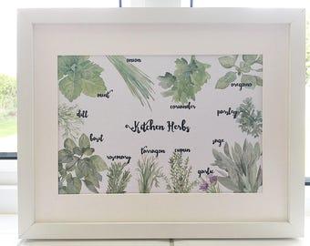 A4 kitchen herbs print