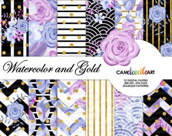 Watercolor Floral Digital Paper Pack,Purple and Pink, Black White & Gold, Romantic Paper Pattern,Scrapbooking Paper,Watercolor Flowers
