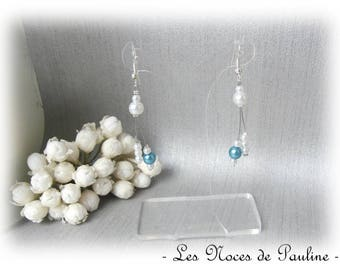 Earrings turquoise and white asymmetrical Julia