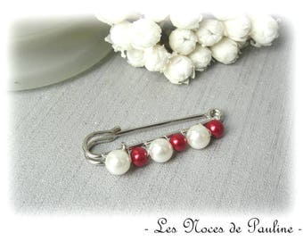 Wedding ivory and red beads, PM wedding brooch