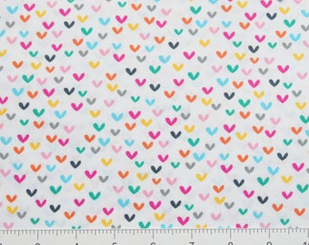 Timeless Treasures~ KIDZ-C4089 WHI~ Colorful HEARTS on a White Background ~  By The Half Yard ~
