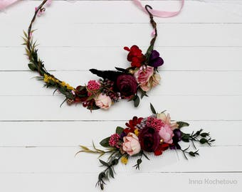Bridal bridesmaid flower accessories Flower crown Floral comb Wedding hair wreath Pink purple headpiece Flower headband Outdoor Wedding set