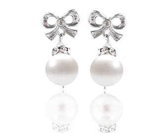 Freshwater Pearl Bow Stud Earrings - Swarovski Crystals, Pearls, Sterling Silver, Rhodium - Style  1105 Bekah Anne - Ready to Ship