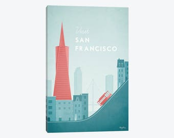 San Francisco Skyline, San Francisco Art Print, San Fran Minimalist Skyline, San Francisco Poster, Canvas Wall Art Poster, Downtown SF Art