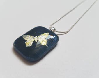 Silver Butterfly on Blue Glass Pendant