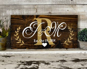Custom Painted Wood Sign for Anniversary or Wedding Gift