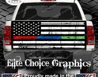 Thin Blue Red Green Line Truck Tailgate Wrap Vinyl Graphic Decal Sticker Wrap