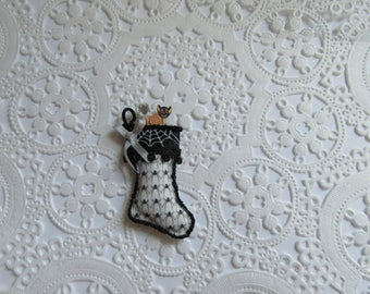 Miniature Halloween Spider Stocking-1:12 Scale-Halloween Stocking--Dollhouse Miniature