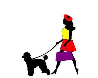 French girl walking poodle svg; Tween svg;  svg file; dxf file