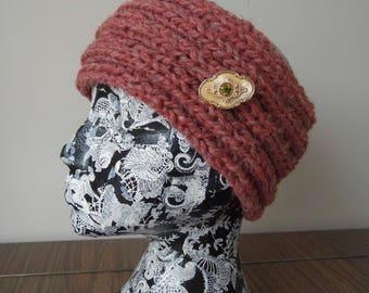 Handmade knitted headband with vintage brooch