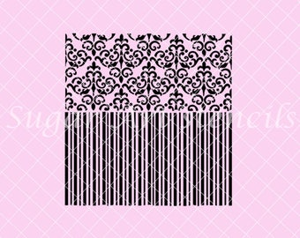 Damask and stripes stencil duo background NB300246