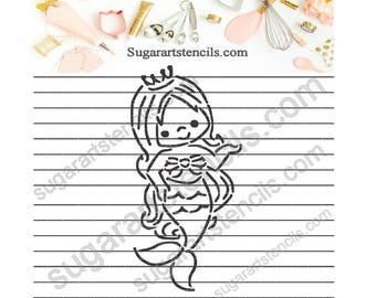 Mermaid PYO cookie Stencil NB900559