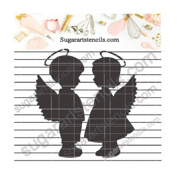 Little Angels Cookie Stencil Boy Girl Nb1339 From