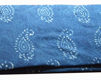 10 to 100 Yards Indian Hand Block Printed Cotton Bagru/Dabu/Idigo Fabric