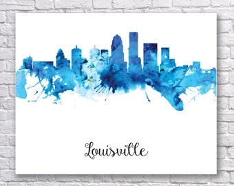 Louisville Skyline, Louisville Cityscape Art Print, Louisville Watercolor Skyline, Louisville Cityscape, Watercolor Louisville Kentucky