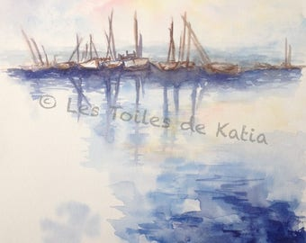 Wearing or sailing ships anchor. Watercolour A4 size. April 2011