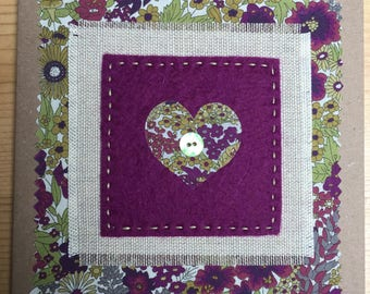 hand stitched fabric applique card, handmade greeting card, fabric card