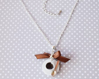 Coffee Cup porcelain handmade necklace