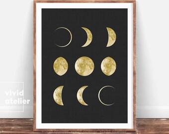 New Moon Phases Print, Moon Poster, Luna Print, Gold moon Wall Art, Best Printable Art, For Nursery, Instant Download, Geometric Art Print