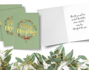 Merry Christmas Cards, Metallic Folded Christmas Card, Wreath Christmas Card, Christmas Card Set, Folded Wreath Card, Foil Christmas Card