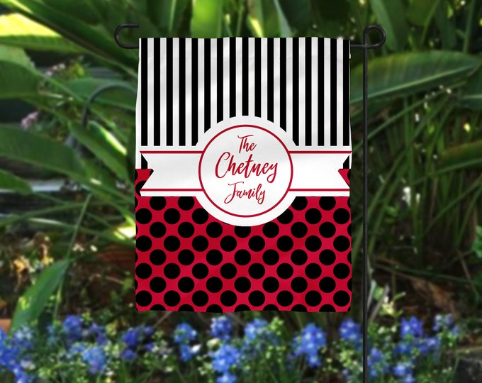 Featured listing image: Garden Flag, Striped Garden Flag, Polka Dot Garden Flag, Red Garden Flag, Black Blue Flag, Personalized Flag, Personalized Garden Flag