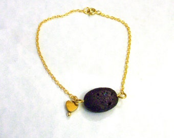 Perfume Diffuser Bracelet, Black Lava Rock Bracelet, Gold Lava Bracelet, Sterling Silver Lava Bracelet, Essential Oil Diffuser Bracelet