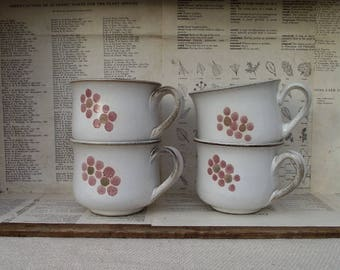 DEnby cups,vintage denby cups,stoneware cups,denby coffee cups,Denby Gypsy,gypsy cups,vintage cups,vintage coffee cups,tea cups,floral cups