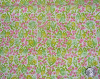 Almost 3 yards vintage cotton fabric yellow pink floral