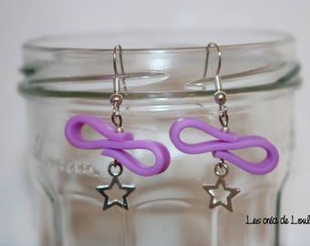 Earrings purple silicone