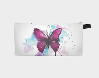 "Treasure chest pencil or makeup case ""Watercolor Butterfly"""