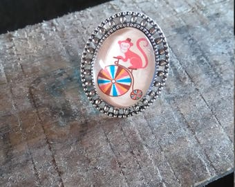 """oval silver ring """"monkey"""""""