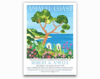 Amalfi Coast, Italy Destination Invites - Single sided with envelopes. Ravello, Amalfi Coast, Italian wedding invitations. tree, sea