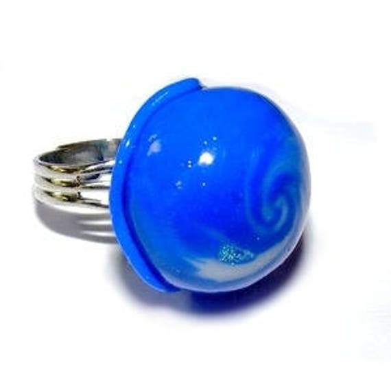 Pacific swirl polymer clay ring