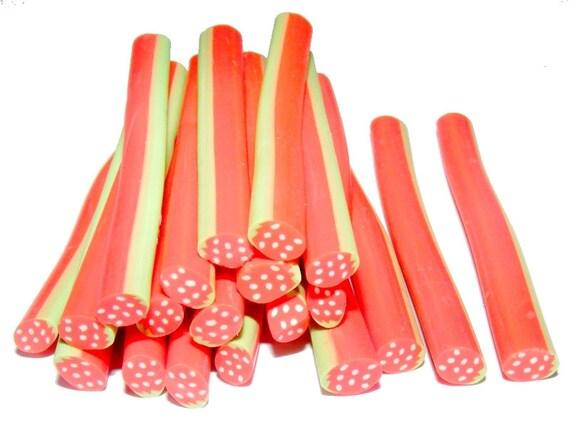 Oval N3 Strawberry polymer clay cane