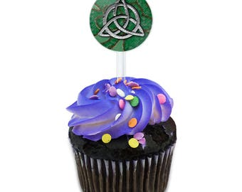 Celtic Trinity Circle Green Clovers Cake Cupcake Toppers Picks Set
