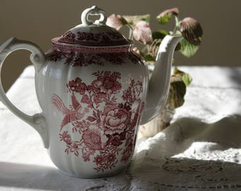 Red Transferware Tea or Coffee Pot--RESERVED