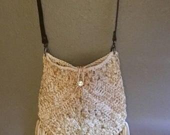 Crochet boho gypsy purse