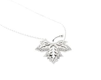 Women's Jewellery Winter Necklace, Crystal Leaf Necklace. 925 Sterling Silver Jewelry. Gift Box Included