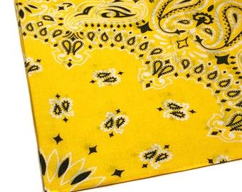 Yellow Bandana, Yellow Bandanna, Hav-a-Hank Bandanna, 100 percent Cotton, 22 x 22 Bandana, Paisley Bandana, Single Handkerchief Hankie