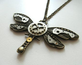 Steampunk dragonfly Gothic dragonfly Steampunk jewelry Dragonfly necklace Post apocalyptic Long necklace