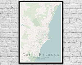 Coffs Harbour NSW City Street Map Print | Wall Art Poster | Wall decor | A3 A2