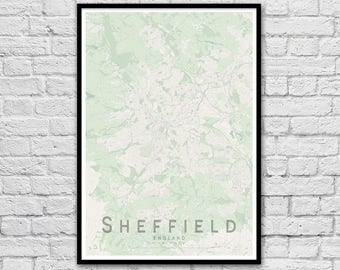 SHEFFIELD Map Print | England City Map Print | Wall Art Poster | Wall decor | A3 A2
