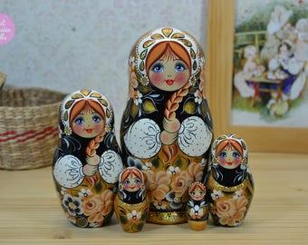 Russian nesting doll, Gift for woman, Handmade Matryoshka, Babushka in black white and gold, Wooden hand painted stacking dolls, Folk art