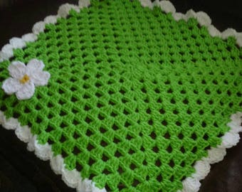 Baby Doll Blanket Lime green with daisy flower crocheted with a white scalloped border
