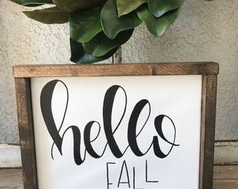 Hello Fall canvas sign, Ready to Ship