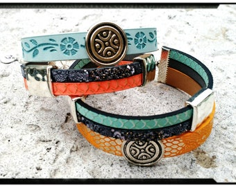 Trio Wrap - Triple Layer Leather Wrap//Turquoise/Yellow/Grey or Sky Blue/Coral/Grey - Textured Leather//Silver Bead Accents - Boho//Modern